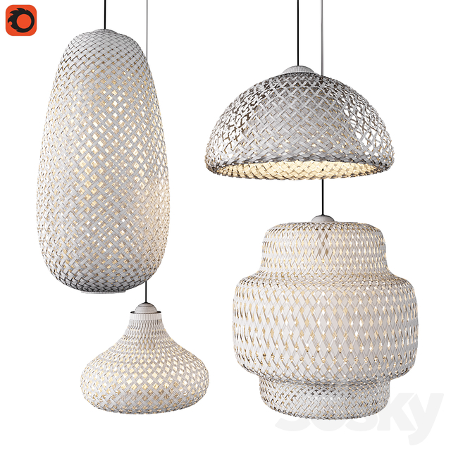 Set of wicker lamps made of bamboo