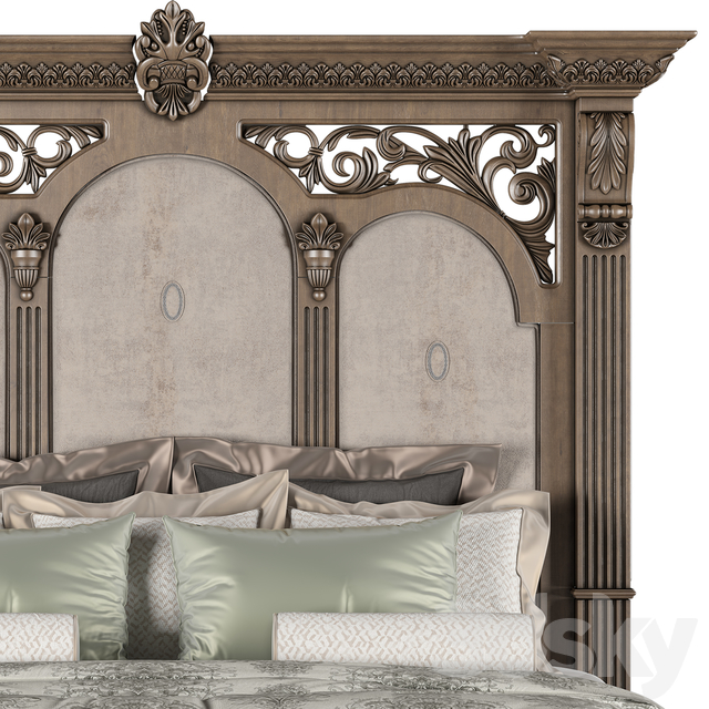 15d models: Bed - AICO FURNITURE VILLA DI COMO STORAGE BED HERITAGE