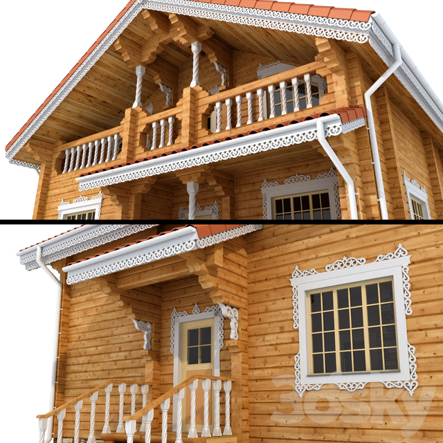 Glued beam cottage in a folk style
