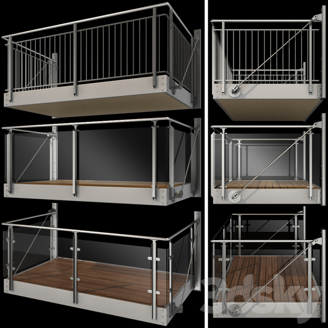 Metal balcony (3 types of console balconies)