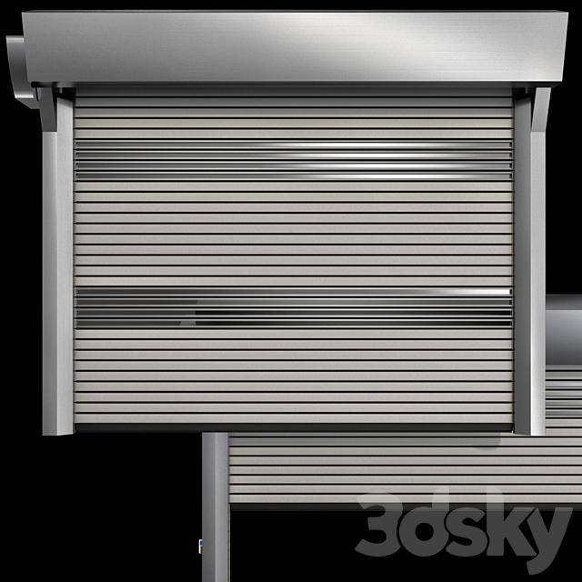 Metal industrial high speed door with horizontal blades