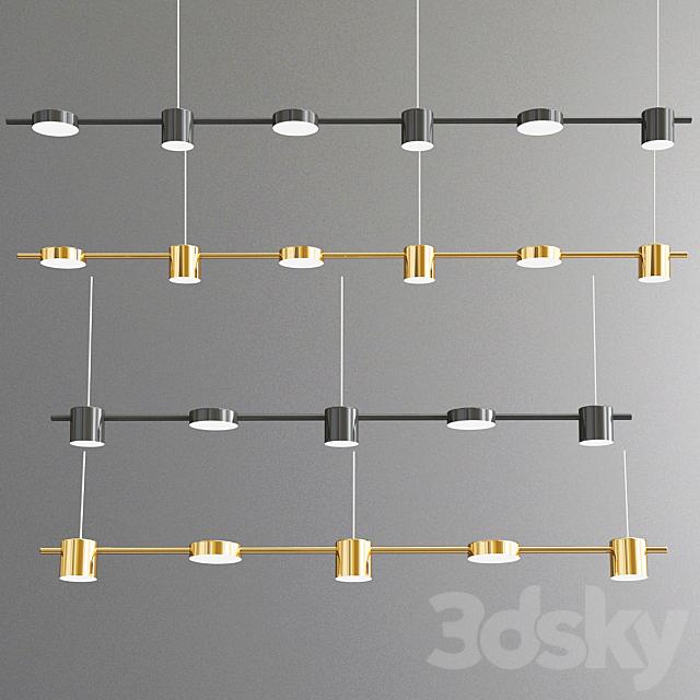 Minimalistic Modern Shiny Black Gold Chandelier