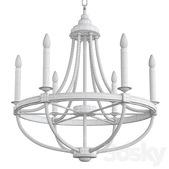 3d Models Pendant Light Prospect 6 Light Candle Style Empire Chandelier