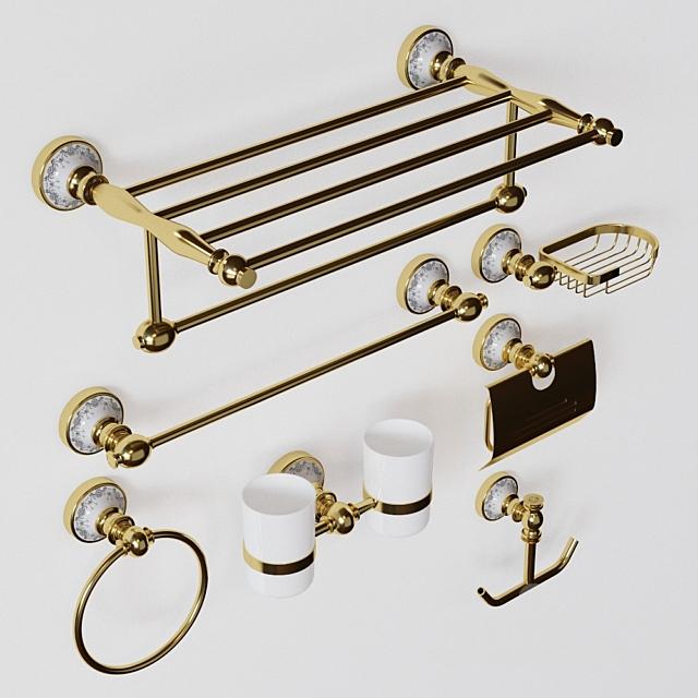 3d Models Bathroom Accessories Gold Bathroom Accessories Set