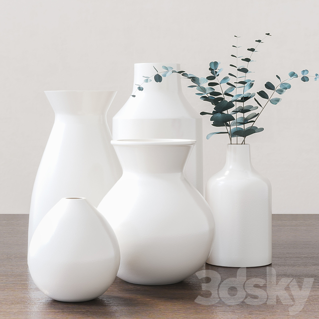 Set of vases with eucalyptus branches