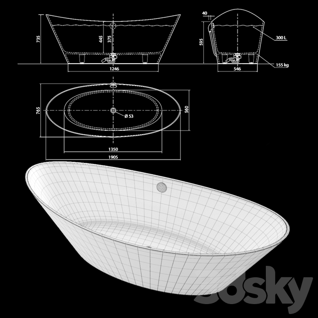 Freestanding bathtub AURA Talia