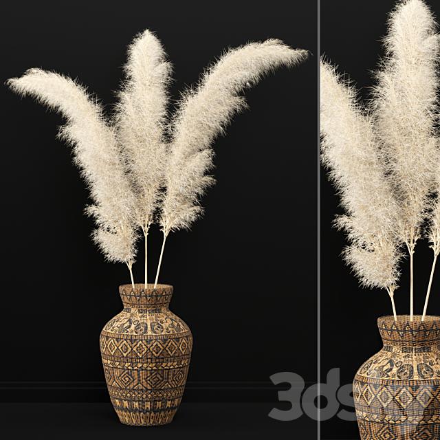 Dry plants 07 - Dried Plantset Pampas whit Wicker vase