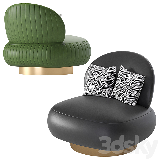 Swivel Chair Clement Leather by Eichholtz