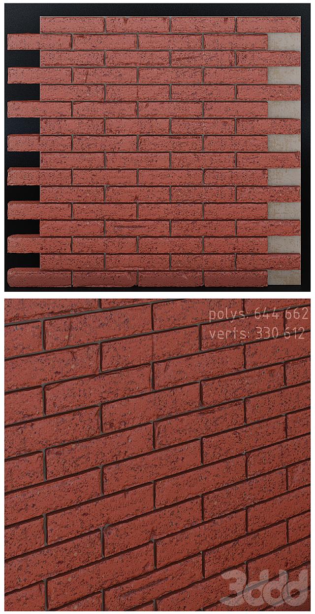 Бесшовная кирпичная стена со сколами