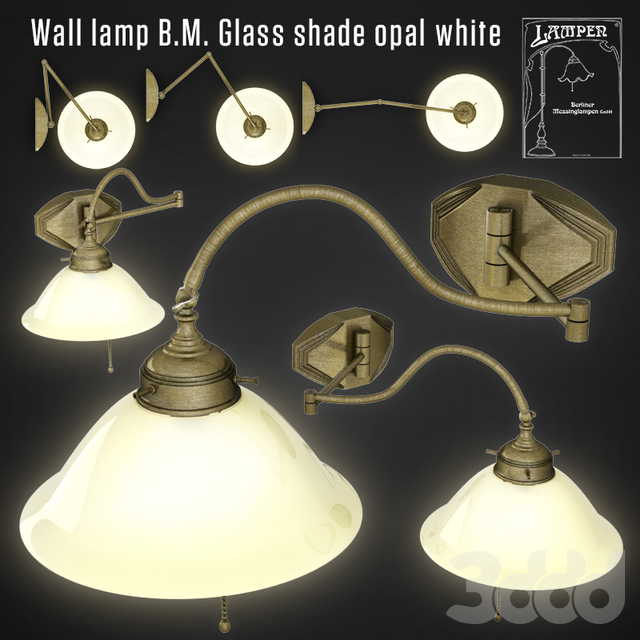 Wall lamp B.M. Glass shade opal white