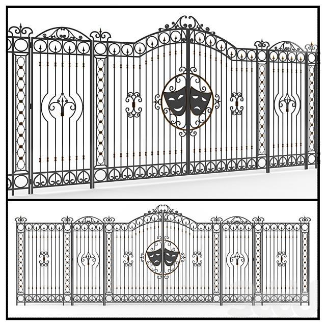 Кованные ворота с забором.