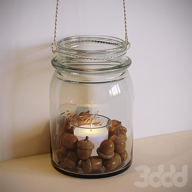 Декоративная свеча в банке с жёлудями