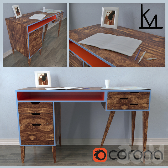 Heirloom Mid Century Modern Solid Walnut Desk