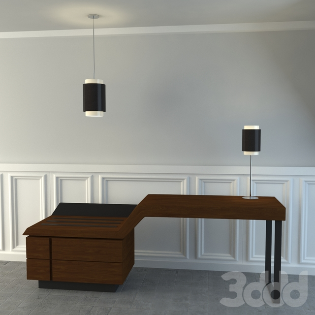 Hotel Desk with Lamps
