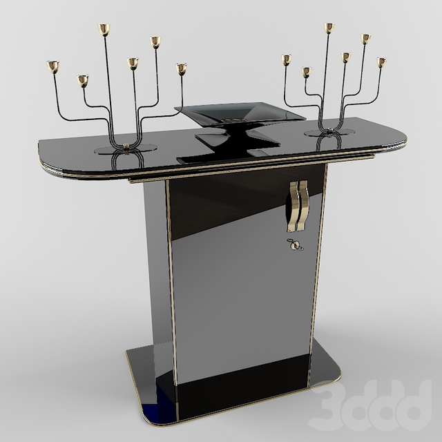 Black and Gold console with decor
