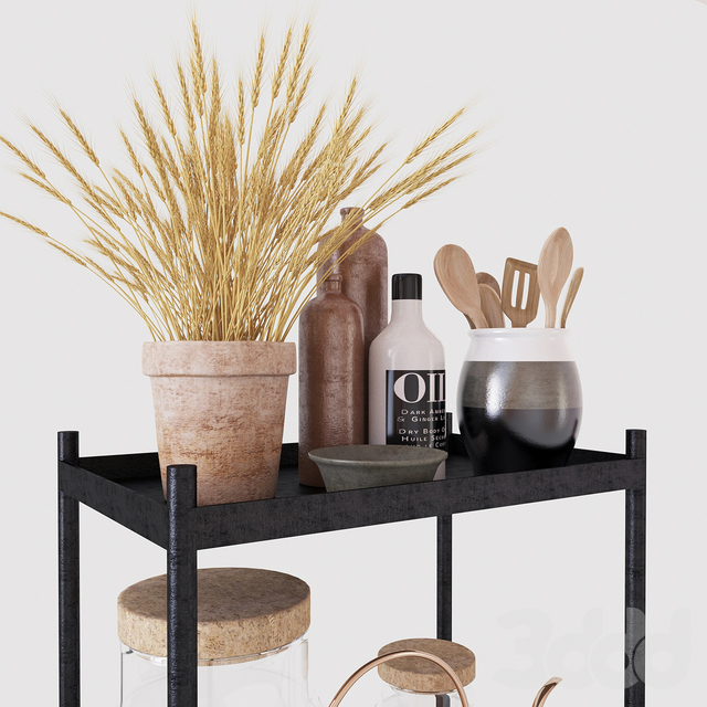 Тележка с декором и сухим растением