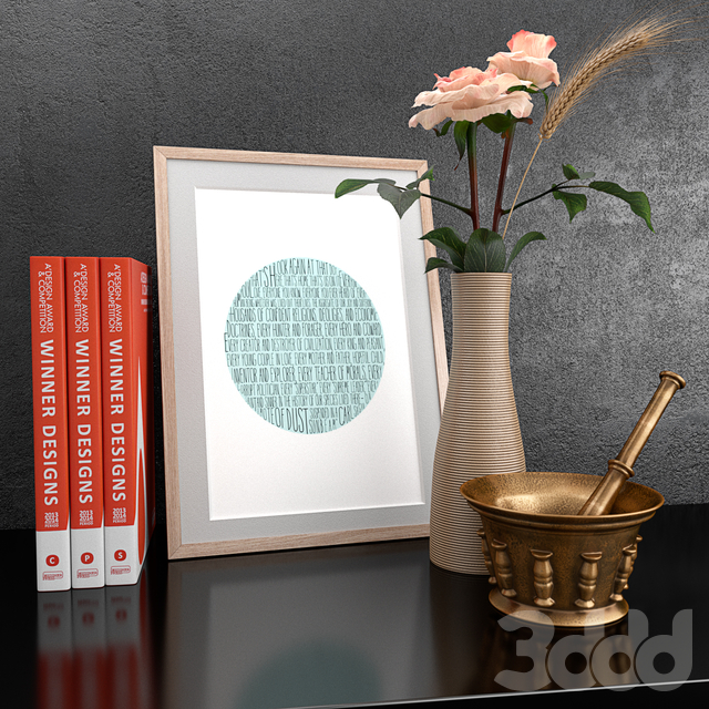 Set of decorative household items