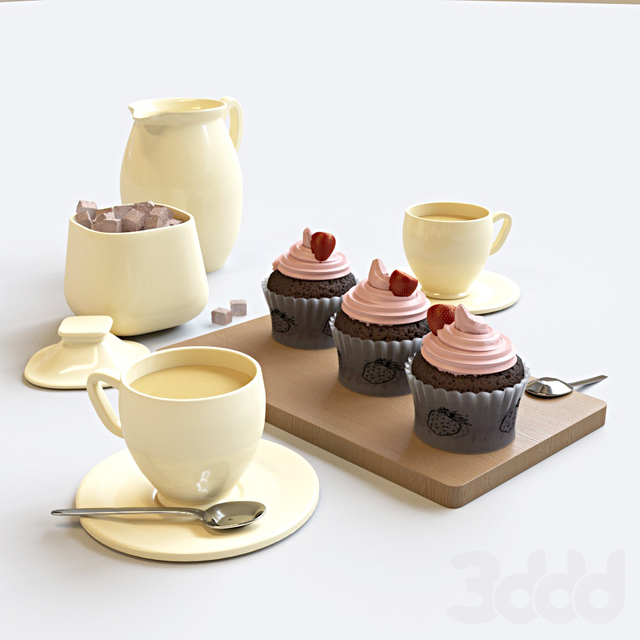 Strawberry cupcakes set