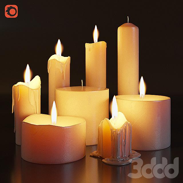 Набор горящих свечей