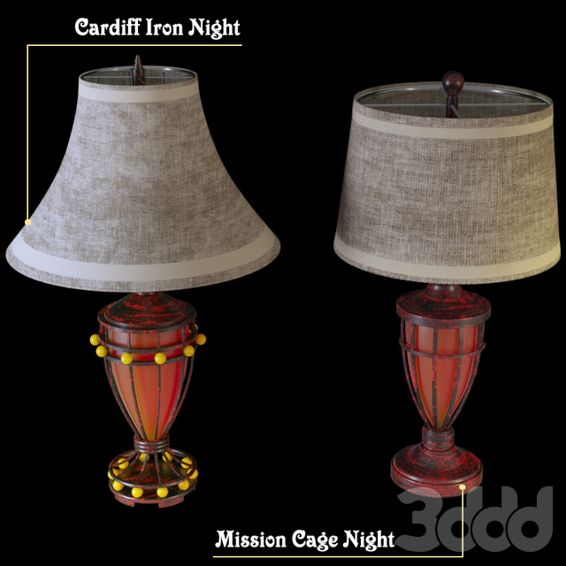 Mission Cage Night and Cardiff Iron Night Light Urn Table Lamp
