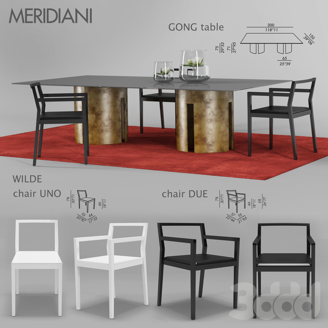 MERIDIANI Gong table, Wilde chair