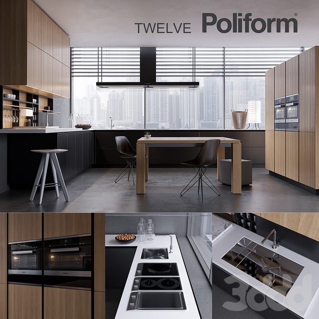 Кухня Poliform Varenna Twelve 2 (vray GGX, corona PBR)