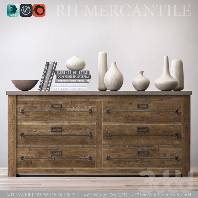 MERCANTILE 6-DRAWER LOW WIDE DRESSER