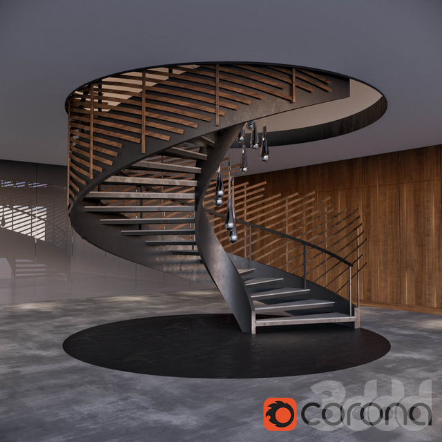 Spiral staircase with installation