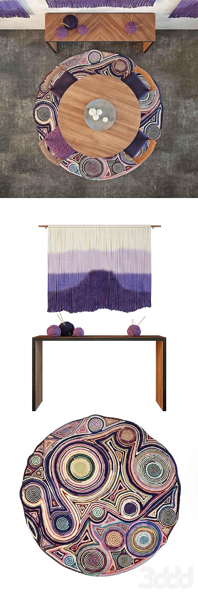 Roost Teak Table & BbL Tapestry set