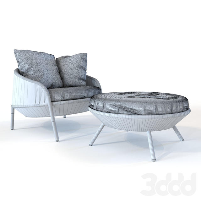 Dedon Ahnda lounge chair and footstool