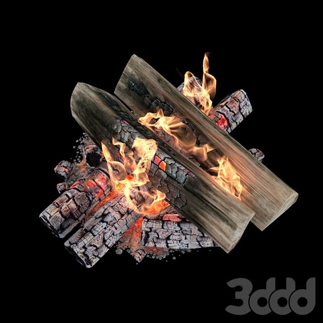 Огонь и дрова с анимацией