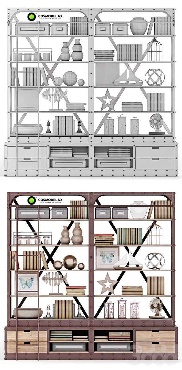 Cosmorelax\Стеллаж Дач (VT10967-01) +Декоративный набор LOFT