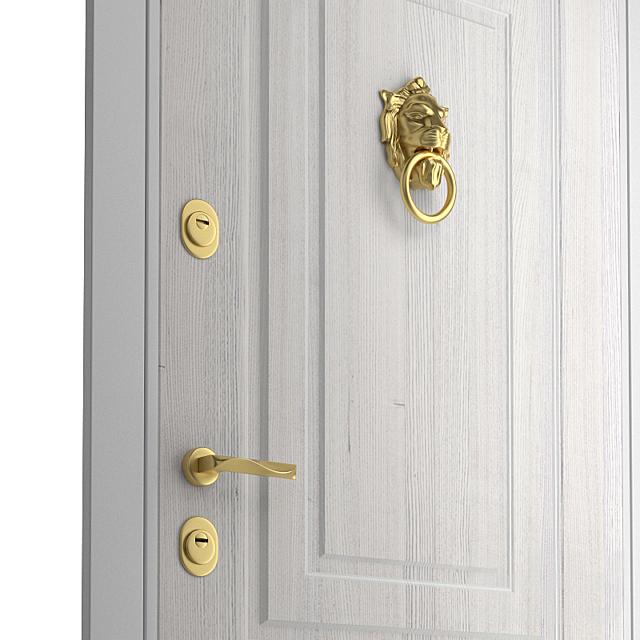 Дверь входная с ручкой-стучалкой Лев