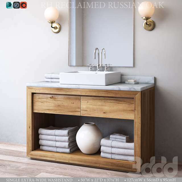 RECLAIMED RUSSIAN OAK SINGLE EXTRA-WIDE WASHSTAND