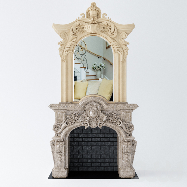 Камин с зеркалом