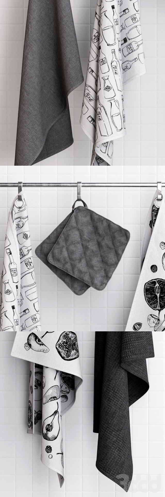 Zara Grey Towels on Hooks