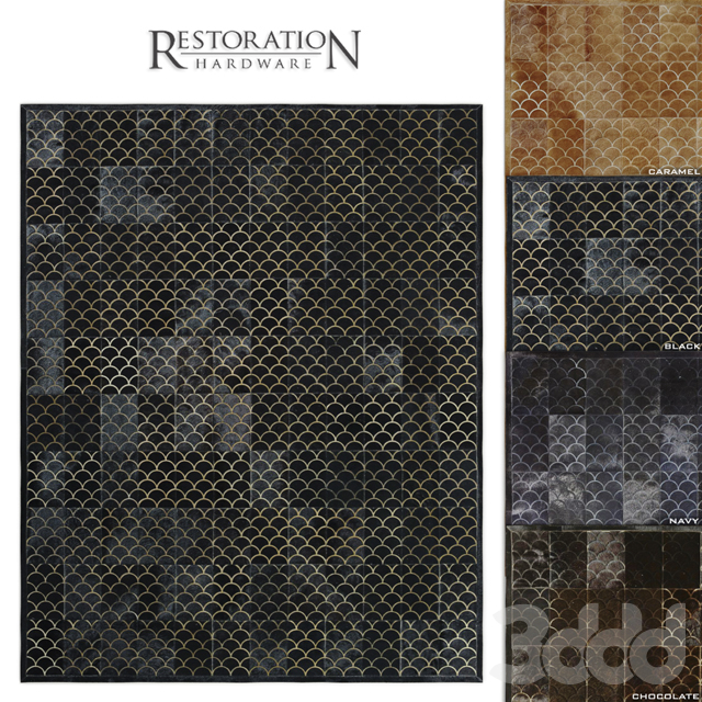 Etched Scallop Cowhide Rug RH