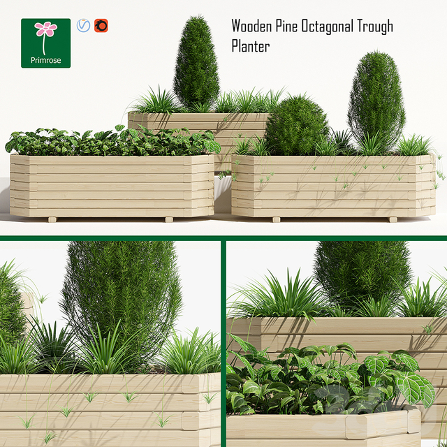 Octagonal trough planter