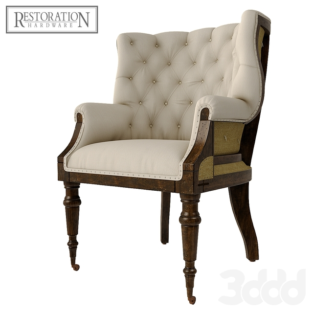 Deconstructed Linen Wing Chair