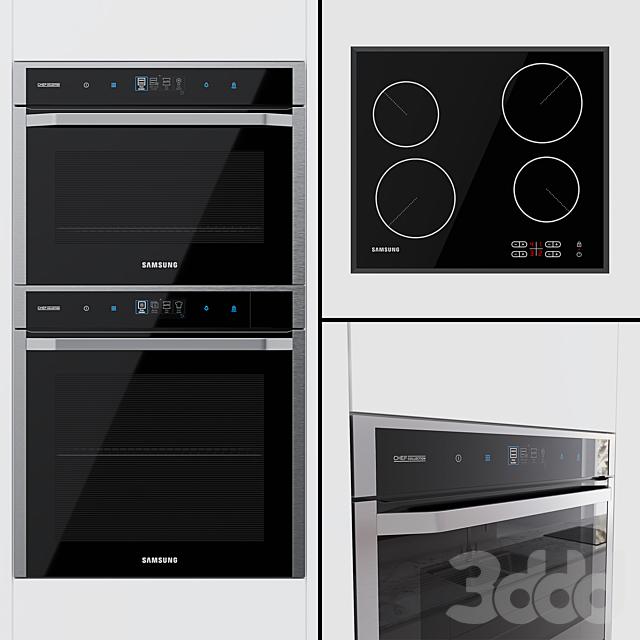 Samsung Chef Collection -  духовой шкаф NV73J9770RS, компактный духовой шкаф NQ50J9530BS и варочная поверхность C61R1AAMST