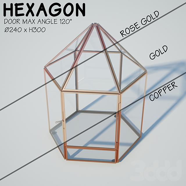 Glass tabletop gazebo | Hexagon | Candles