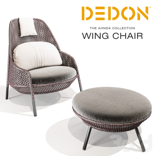 Dedon AHNDA Wing Chair and Footstool