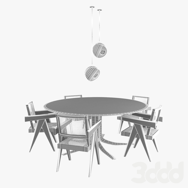 pierre jeanneret office chairs and custom made table and domestico chandelier