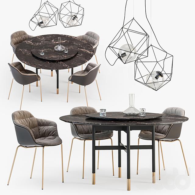 Bontempi Glamour table Mood chair set