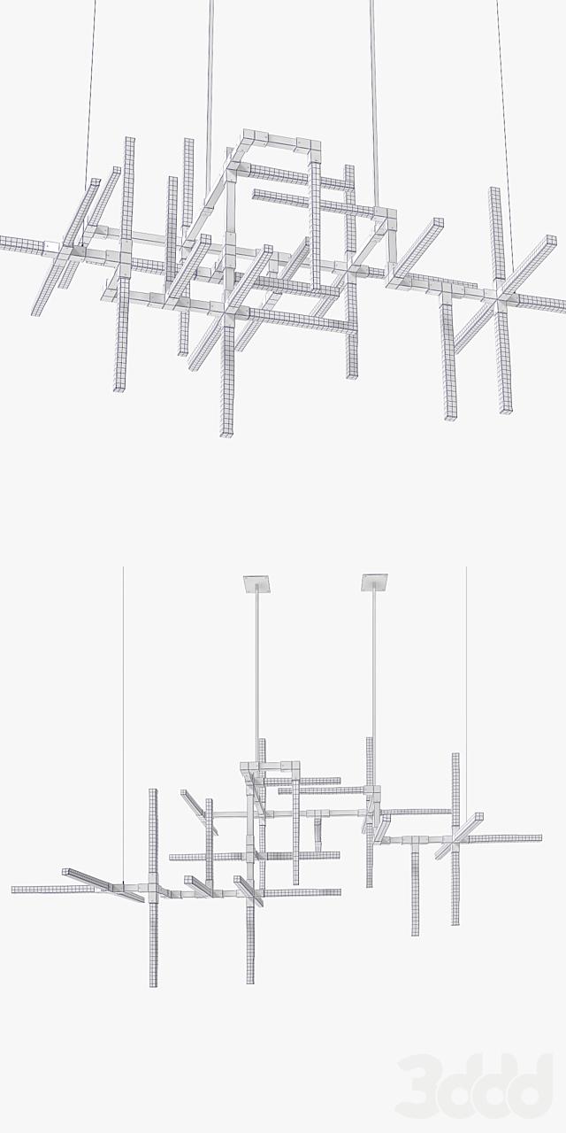 Wired Custom Lighting Orthon Selenite Matrix Chandelier