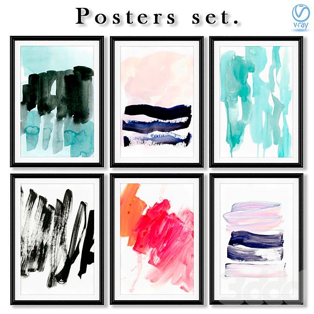 Серия постеров с разноцветными мазками кисти.