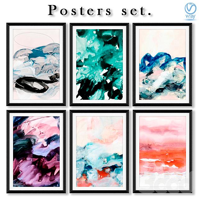 Серия постеров с абстрактной живописью.
