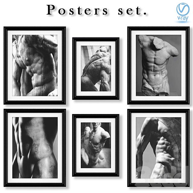 Серия чёрно-белых постеров со статуями.