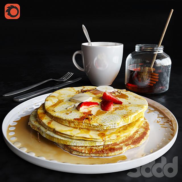 Завтрак с блинчиками и яичницей