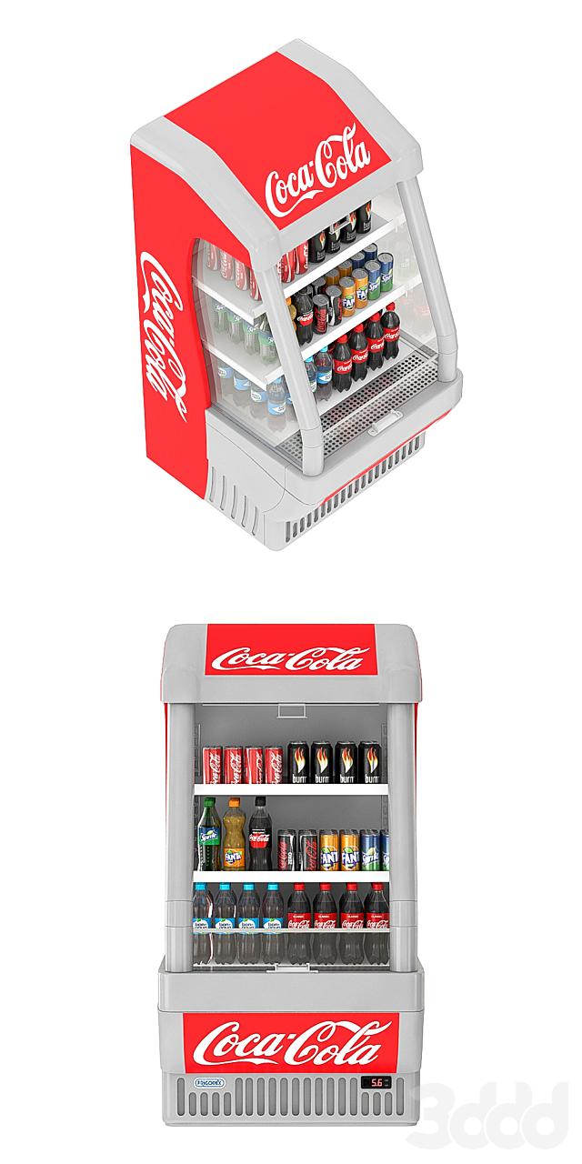 Открытый холодильник Coca-cola